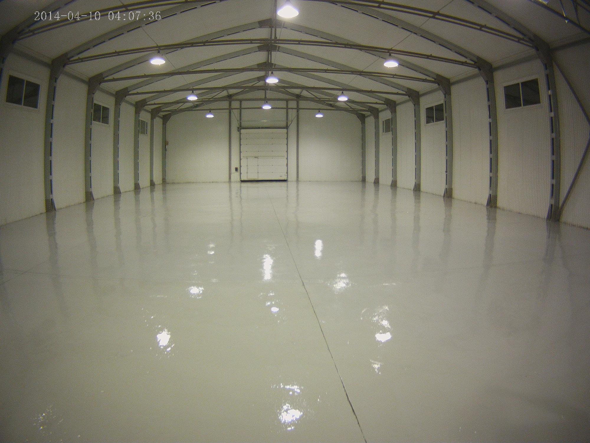 Однокомпонентное полиуретановое покрытие бетонного пола на складе молочной продукции, р. Казахстан