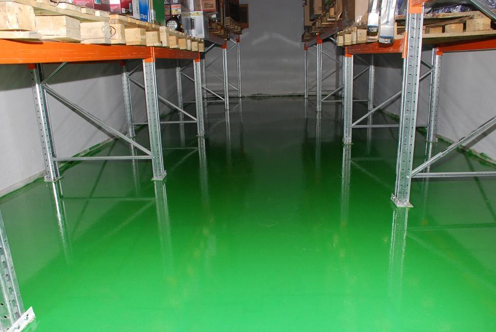 Однокомпонентное полиуретановое покрытие для бетона Этераль на складе пищевой продукции (Цвет: светно-зеленый)